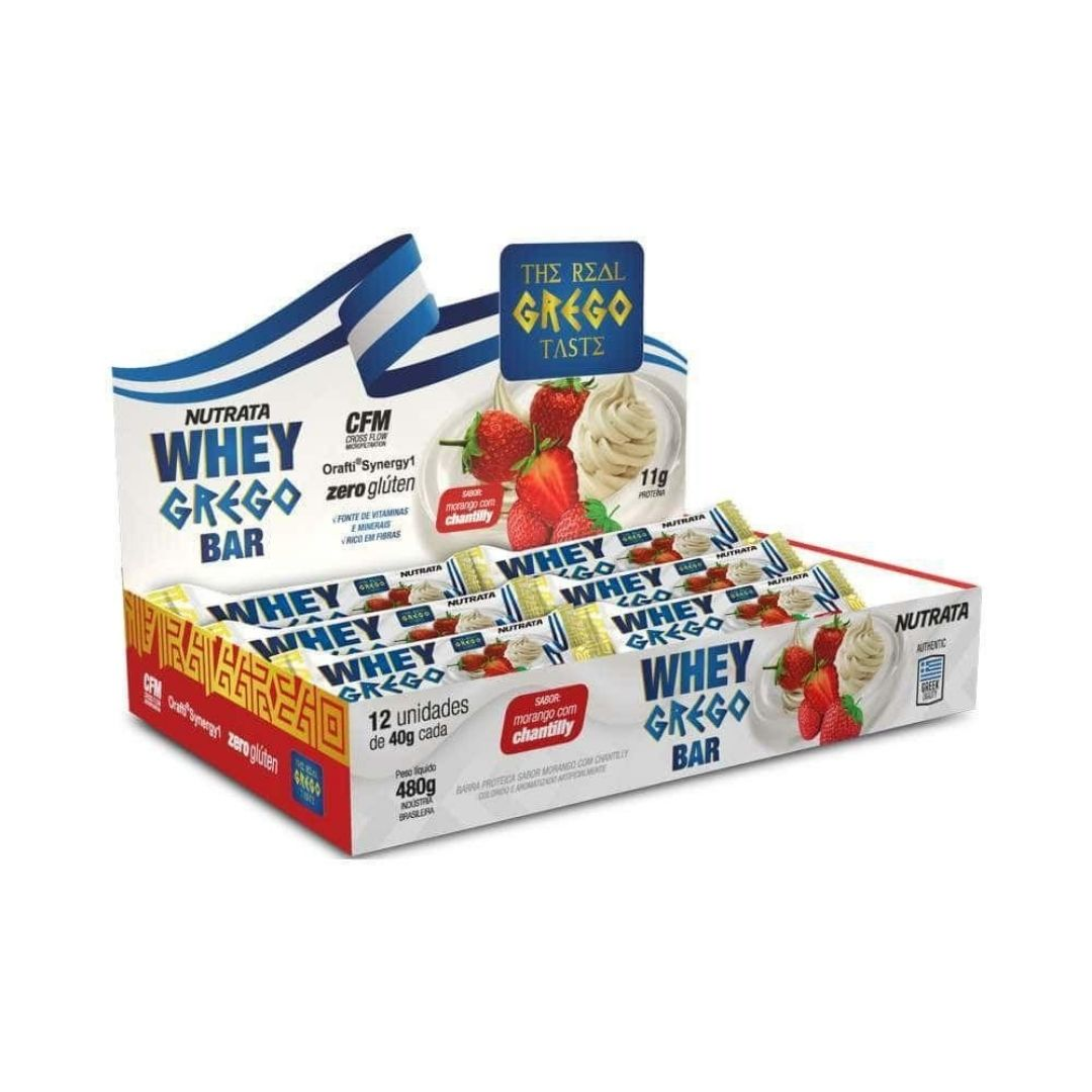 Whey Grego Bar Morango C/ Chantilly 480g Cx 12un  Nutrata  - KFit Nutrition