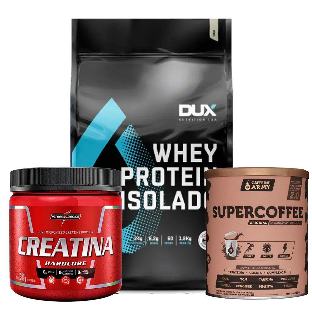Whey isolado 1800g Coco + Creatina 300g + Supercoffee  - KFit Nutrition