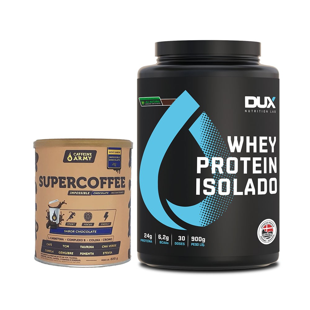 Whey Isolado All Natural Baunilha + Supercoffee 220g Choc  - KFit Nutrition