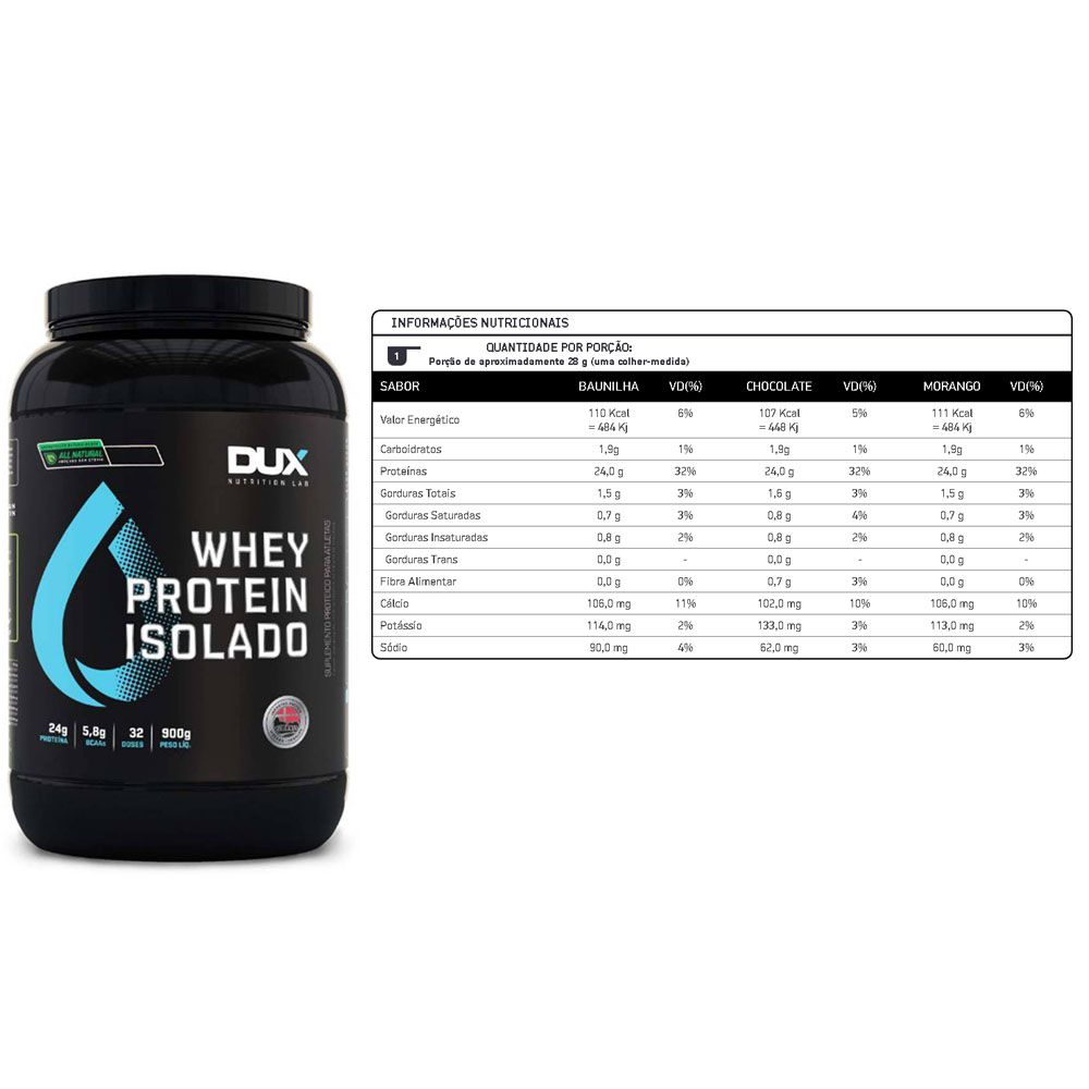 Whey Isolado All Natural chocolate 900g Dux+ Bcaa 60 Caps  - KFit Nutrition
