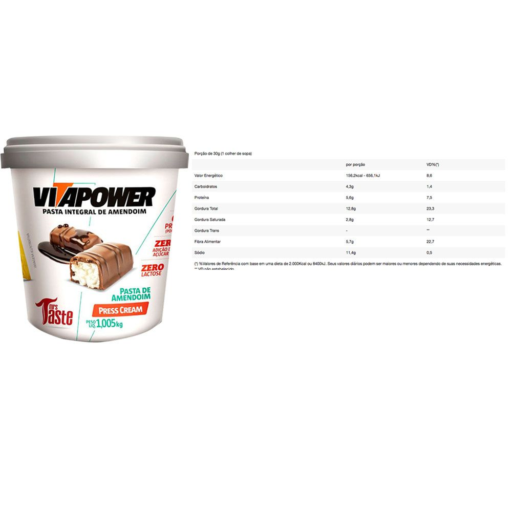 Whey Protein 900g Baunilha + Vitapower Press Cream + Pipoca C/  - KFit Nutrition