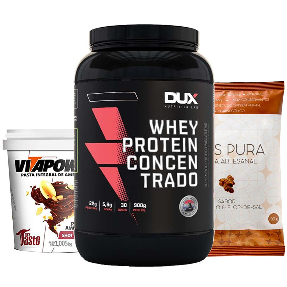 Whey Protein 900g Baunilha + Vitapower Shot + Pipoca F  - KFit Nutrition
