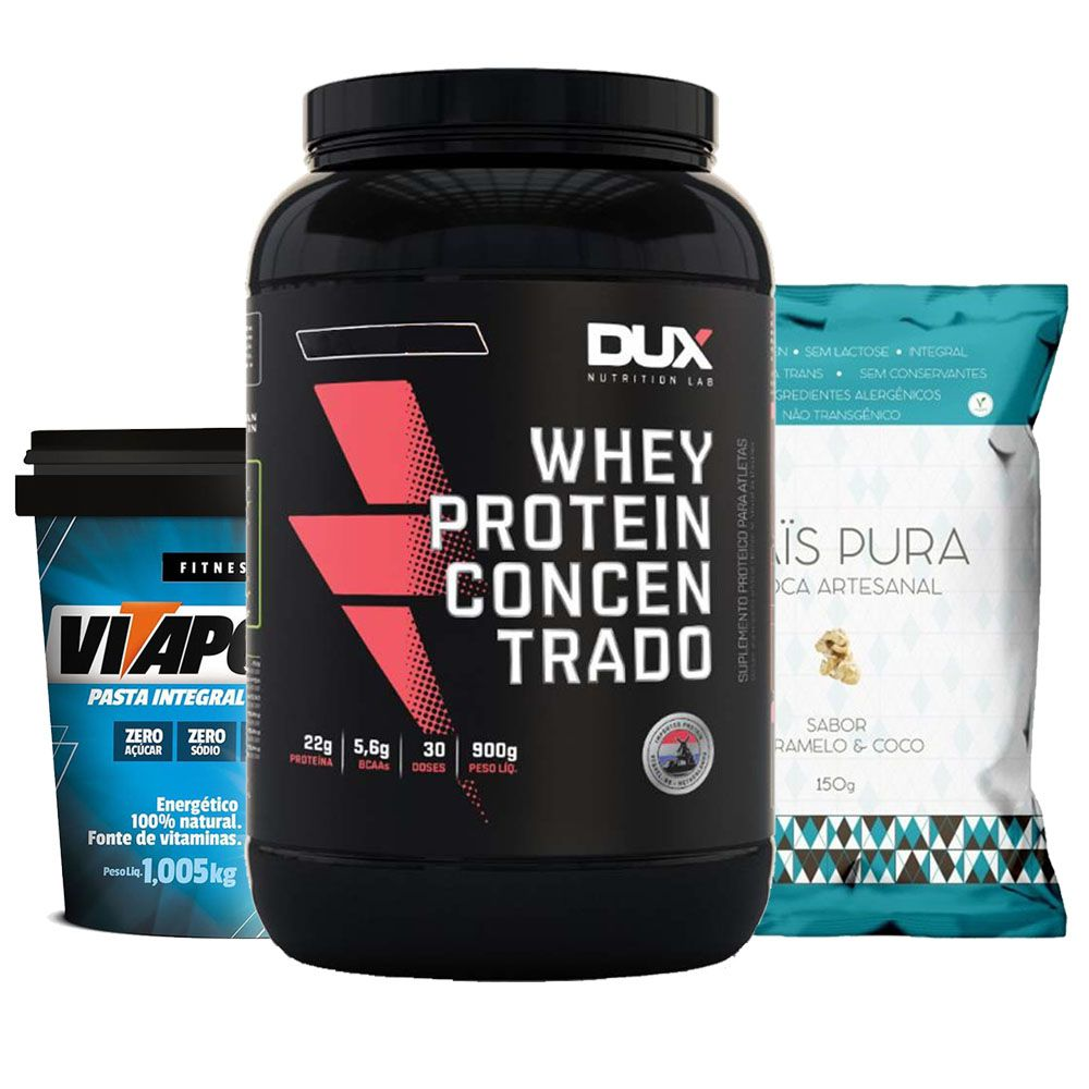 Whey Protein 900g Coco + Vitapower Integral + Pipoca C/  - KFit Nutrition