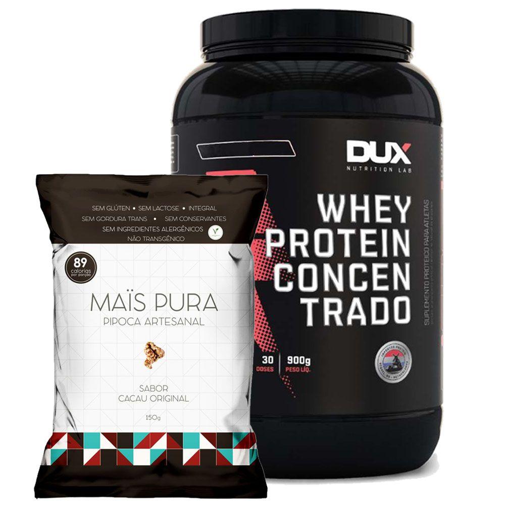 Whey Protein Concentrado 900g Baunilha + Pipoca 150g Cacau  - KFit Nutrition