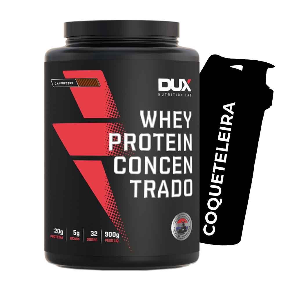 Whey Protein Concentrado 900g Cappuccino + Squeeze Prata  - KFit Nutrition