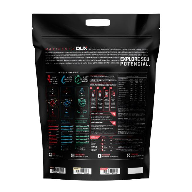 Whey Protein Concentrado Chocolate Refil 1800g - Dux  - KFit Nutrition