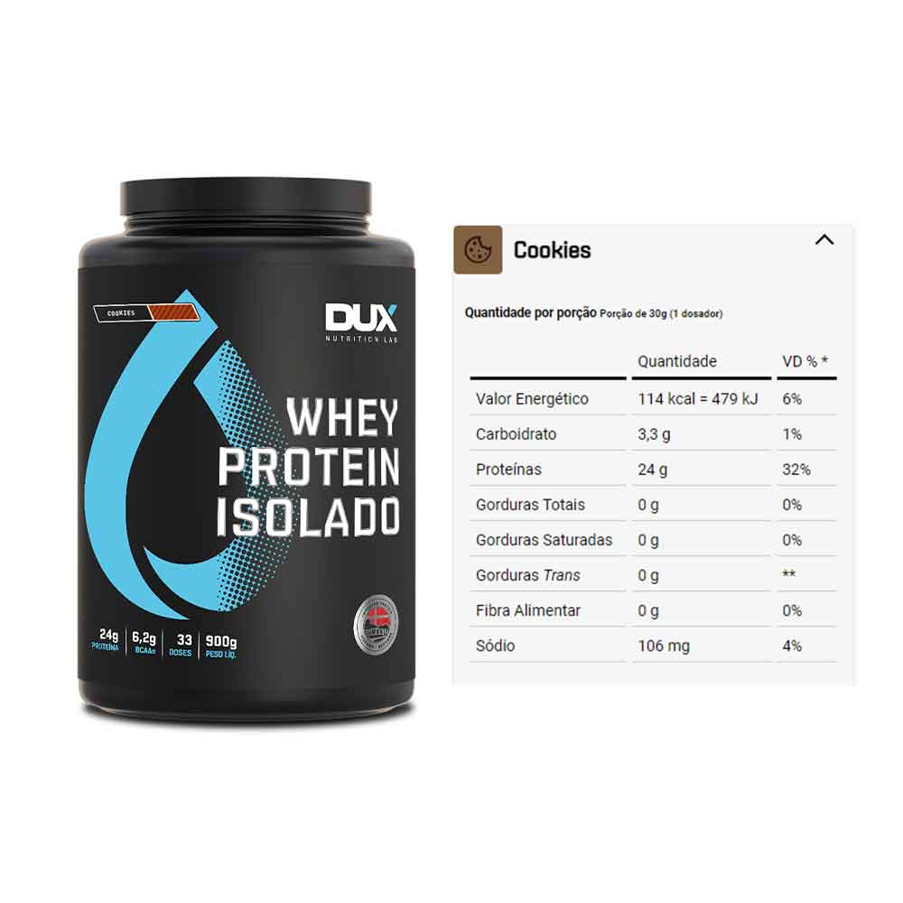 Whey Protein Isolado Cookies 900g - Dux  - KFit Nutrition