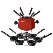Conjunto de fondue médio com base giratória - 22pç Vermelha