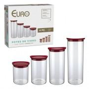 Conjunto de potes de vidro slim com tampa plastica 4 pç - Vermelho