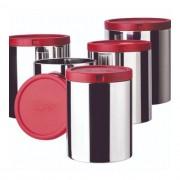 Porta mantimentos inox 5 pç com tampa - Vermelho