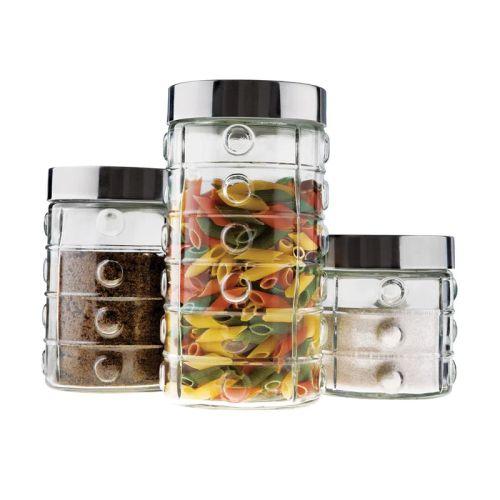 Conjunto de potes de vidro com tampa de inox 3 pçs