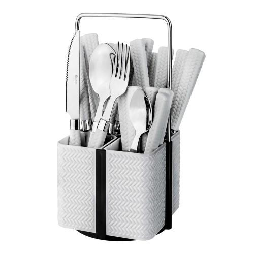 Conjunto de Talheres Varanda Gourmet Rattan 24 peças Branco