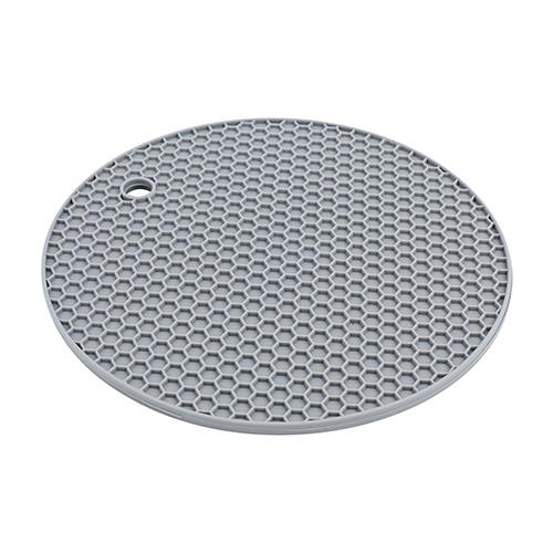 Descanso de panela redondo de silicone cinza