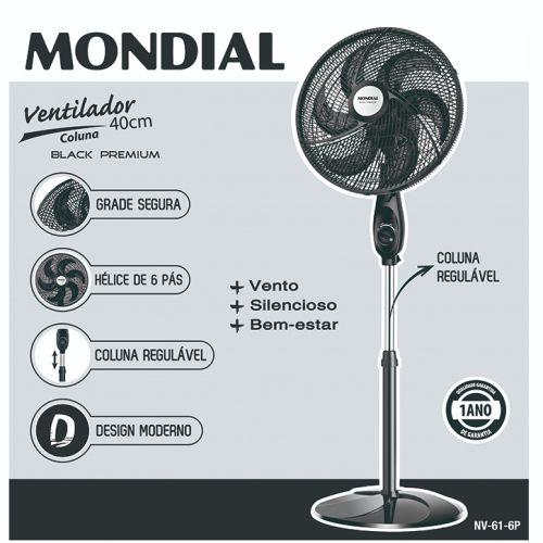 Ventilador de Coluna Mondial Black Premium - NV-61-6P - 40 cm - 127V