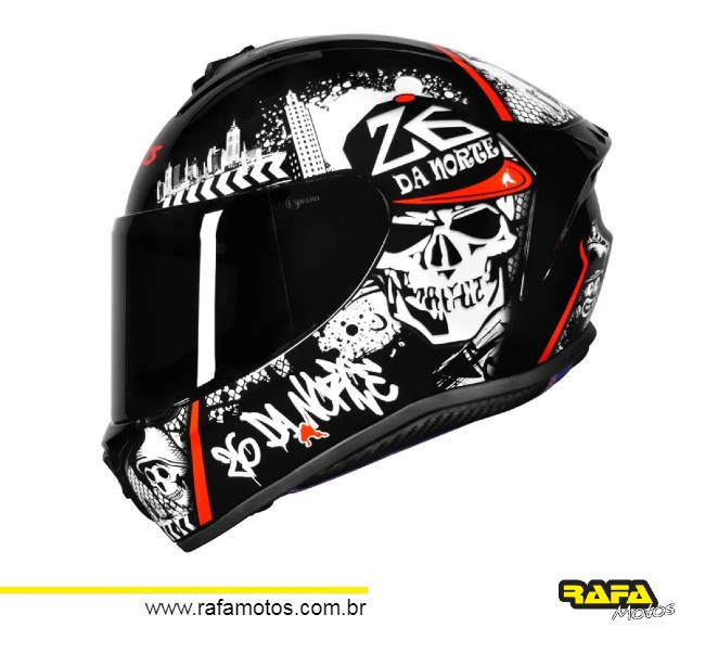 CAPACETE AXXIS DRAKEN 26 DA NORTE NEW GLOSS BLACK RED