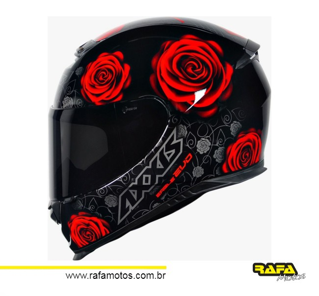 CAPACETE AXXIS EAGLE EVO FLOWERS GLOSS BLACK RED