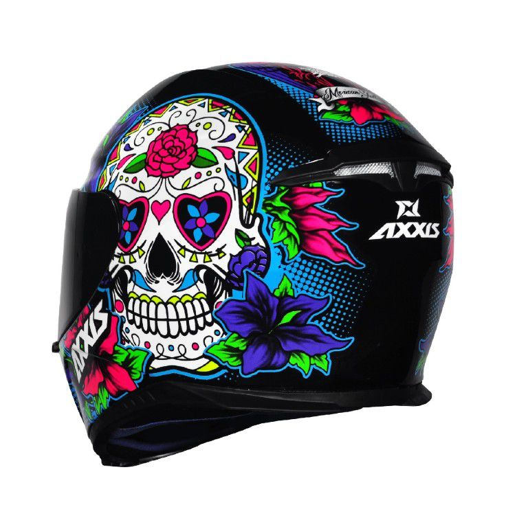 CAPACETE AXXIS EAGLE SKULL BLACK-BLUE