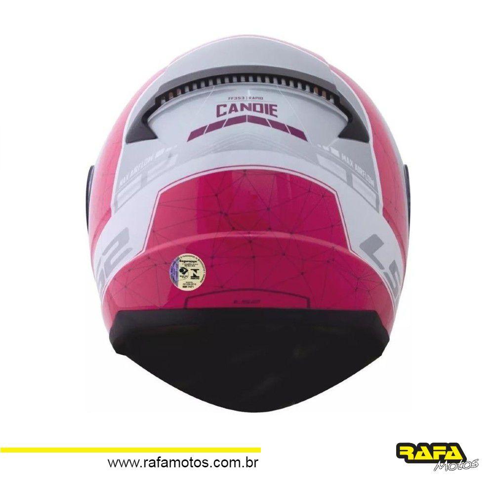 CAPACETE LS2 FF353 CANDIE BRANCO/PRATA/CEREJA