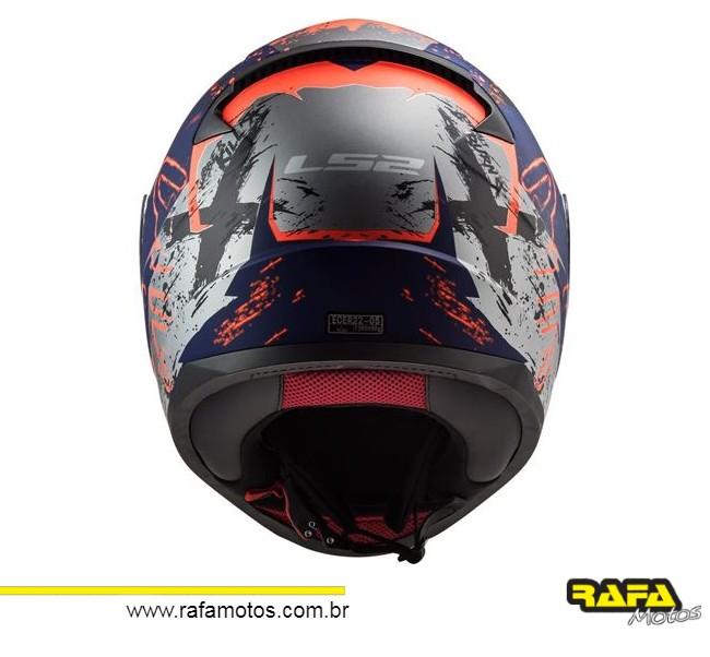 CAPACETE LS2 FF353 RAPID NAUGHTY AZUL FOSCO/LARANJA
