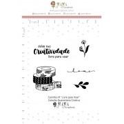 Kit de Carimbos  M - Livre para Voar - Juju Scrapbook