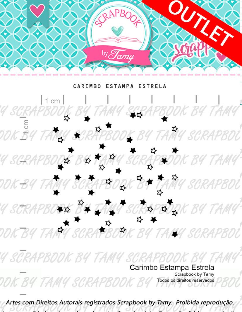 "Cartela de Carimbos - ""Estampa Estrela"" - Scrapbook by Tamy  - Lilipop carimbos"