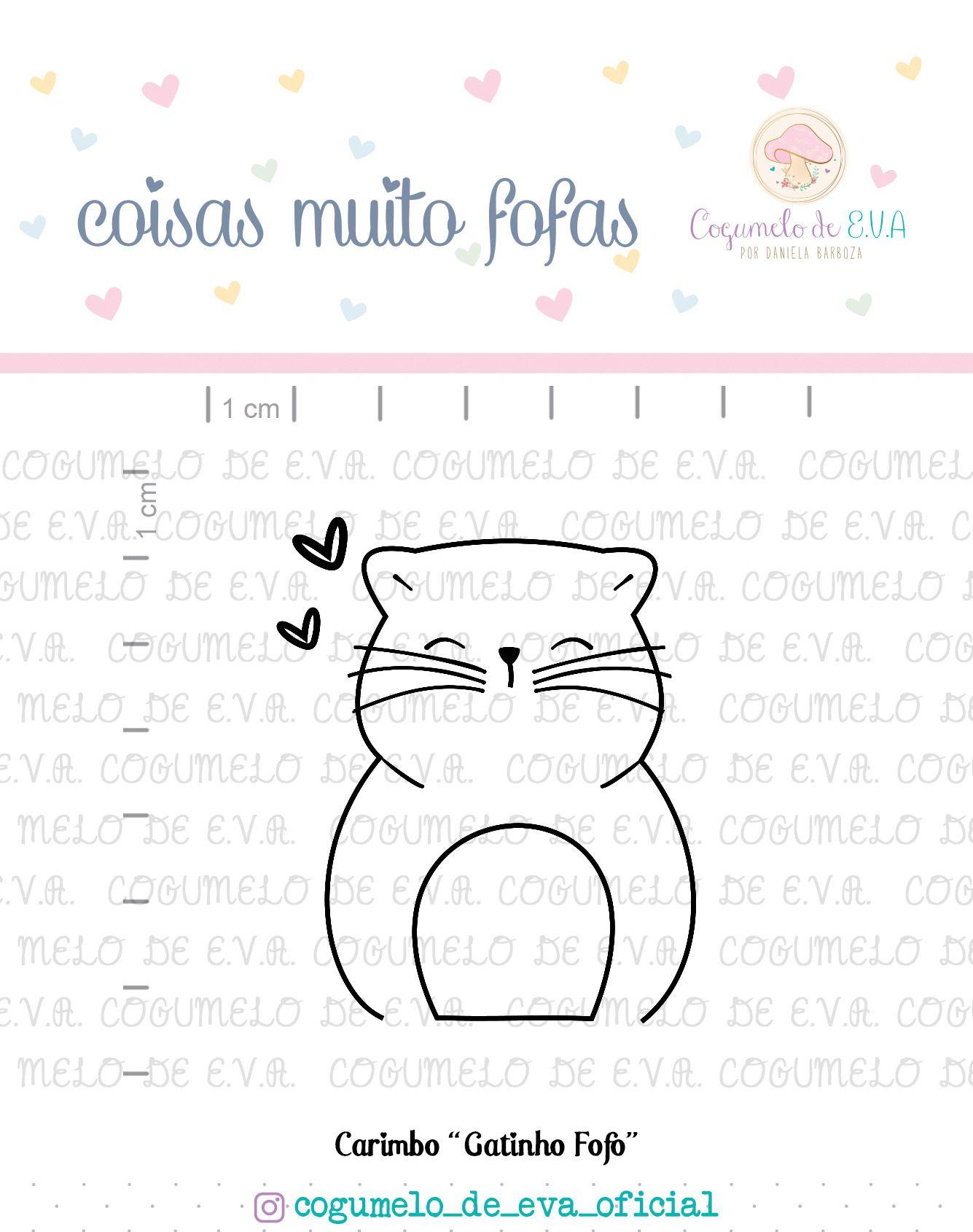 """Cartela de Carimbos G - """"Gatinho Fofo"""" - Cogumelo de E.V.A.  - Lilipop carimbos"""