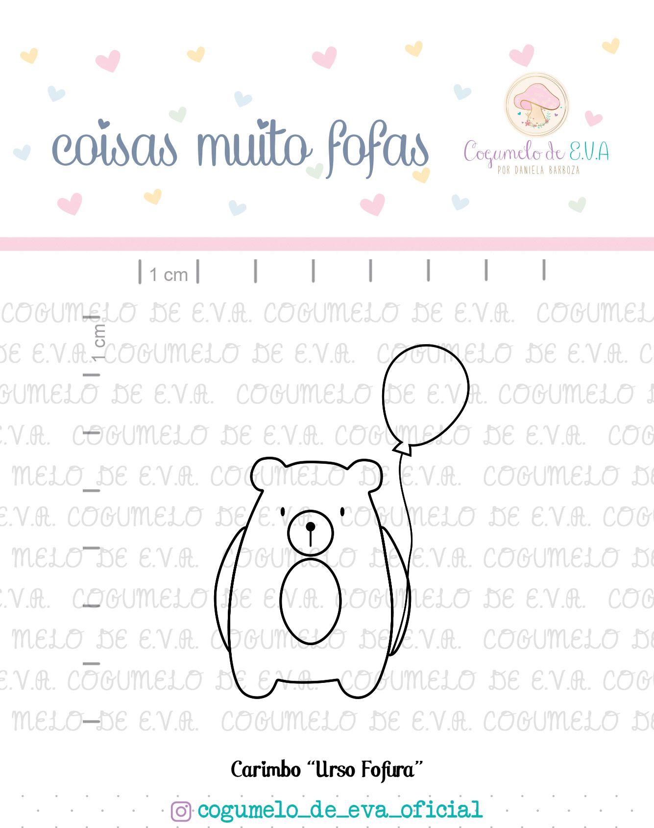 "Carimbo ""Urso Fofura""   Cogumelo de E.V.A."