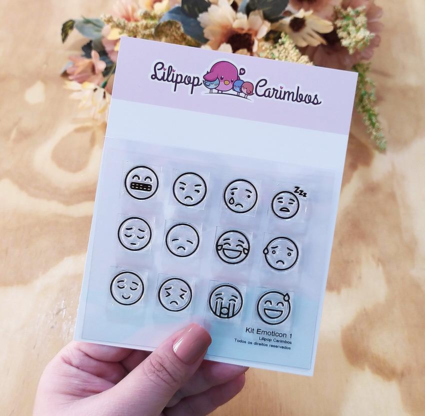 "Cartela de Carimbos ""Emoticon1"" - Lilipop Carimbos   - Lilipop carimbos"