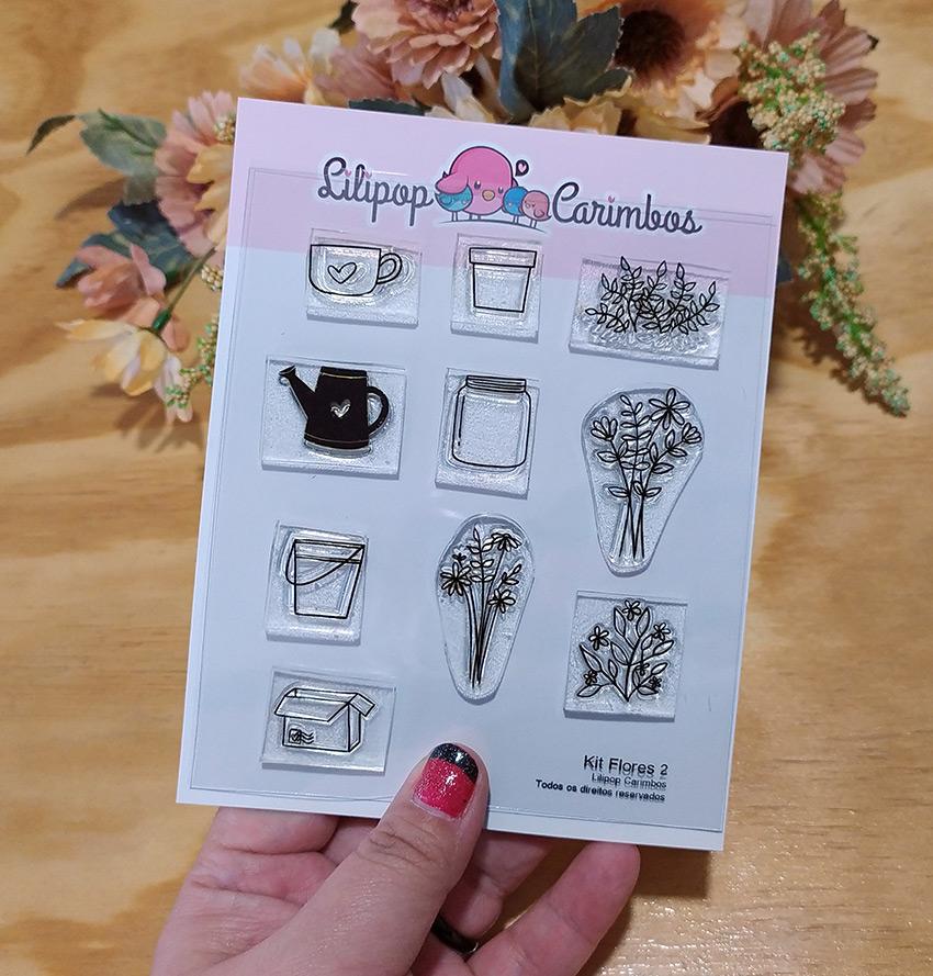 "Cartela de Carimbos Especial ""Flores 2"" - Lilipop Carimbos   - Lilipop carimbos"