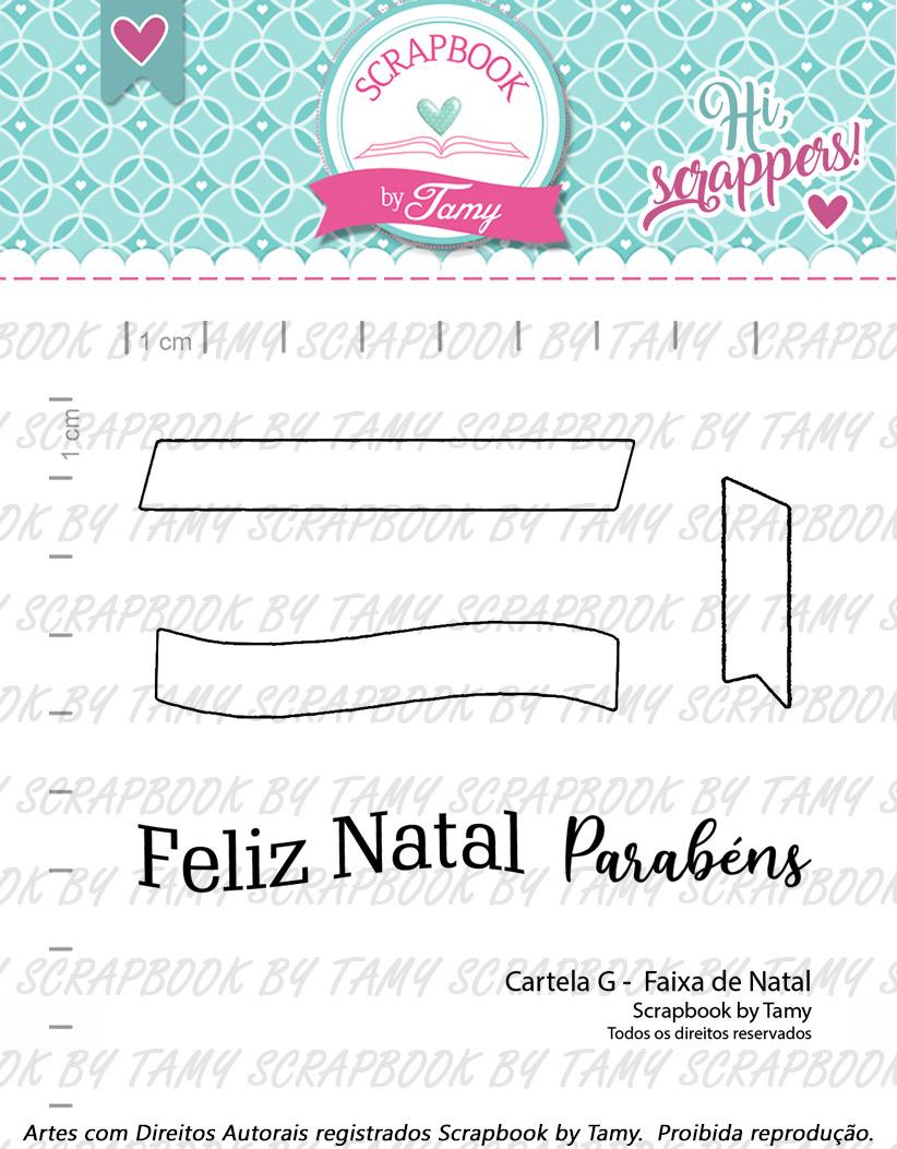 "Cartela de Carimbos G - ""Faixa de Natal"" - Scrapbook by Tamy  - Lilipop carimbos"
