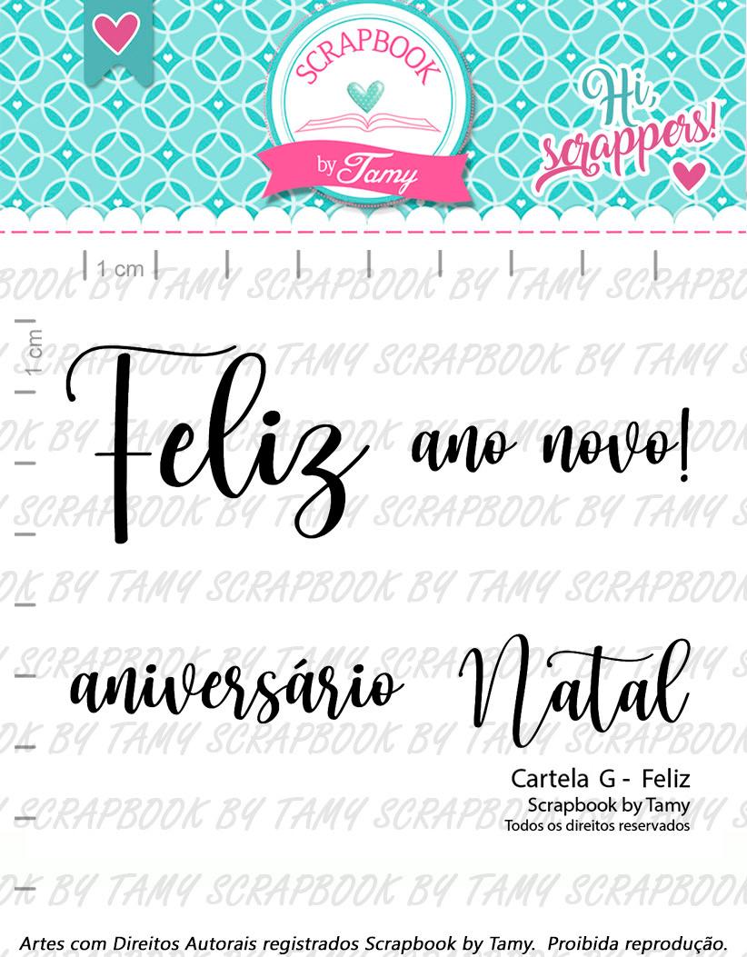 "Cartela de Carimbos G - ""Feliz"" - Scrapbook by Tamy  - Lilipop carimbos"