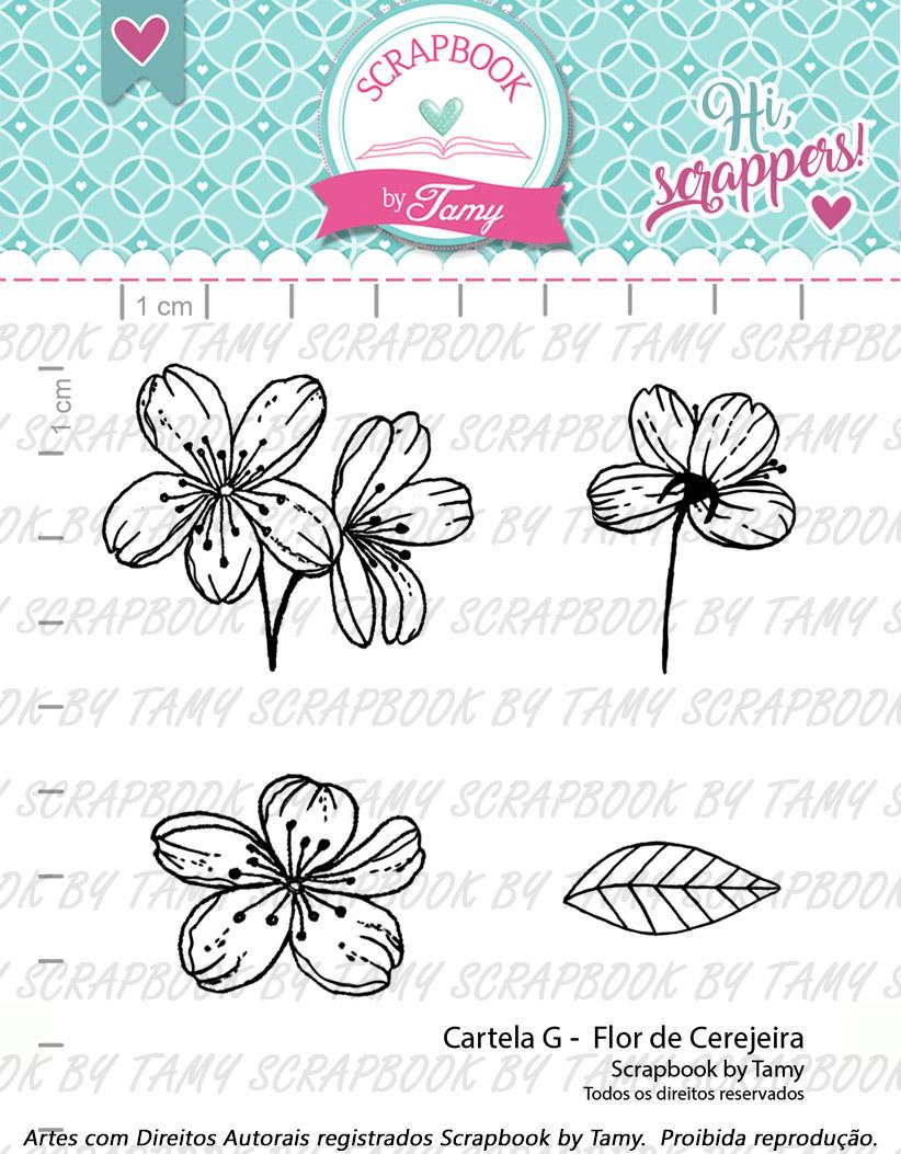 "Cartela de Carimbos G - ""Flor de Cerejeira"" - Scrapbook by Tamy  - Lilipop carimbos"