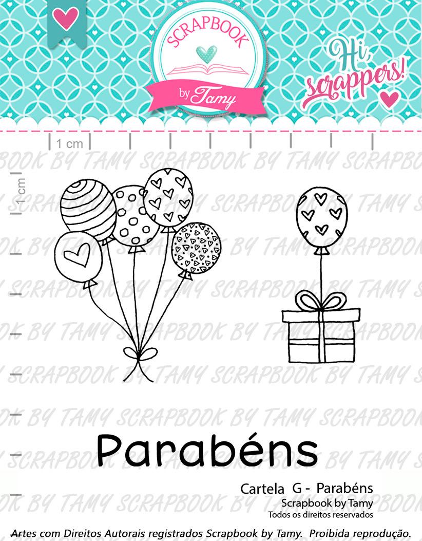 """Cartela de Carimbos G - """"Parabéns"""" - Scrapbook by Tamy  - Lilipop carimbos"""