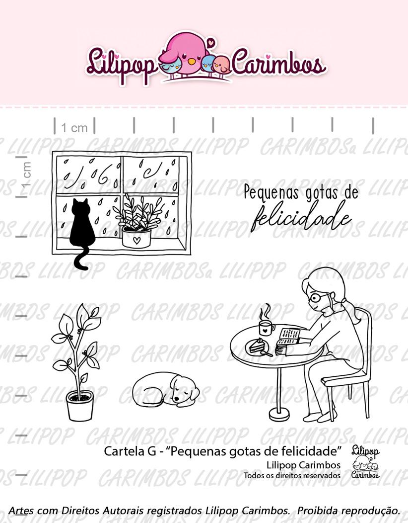 """Cartela de Carimbos G - """"Pequenas gotas de felicidade"""" - Lilipop Carimbos  - Lilipop carimbos"""