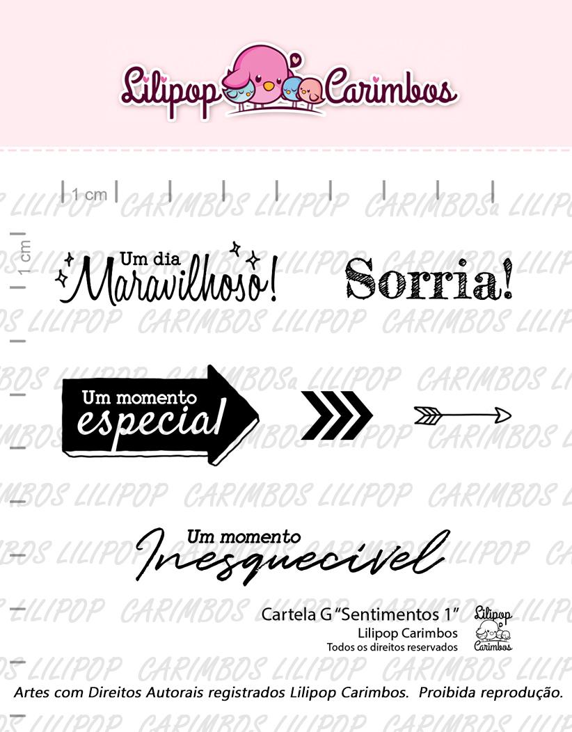 "Cartela de Carimbos G - ""Sentimentos 1"" - Lilipop Carimbos  - Lilipop carimbos"