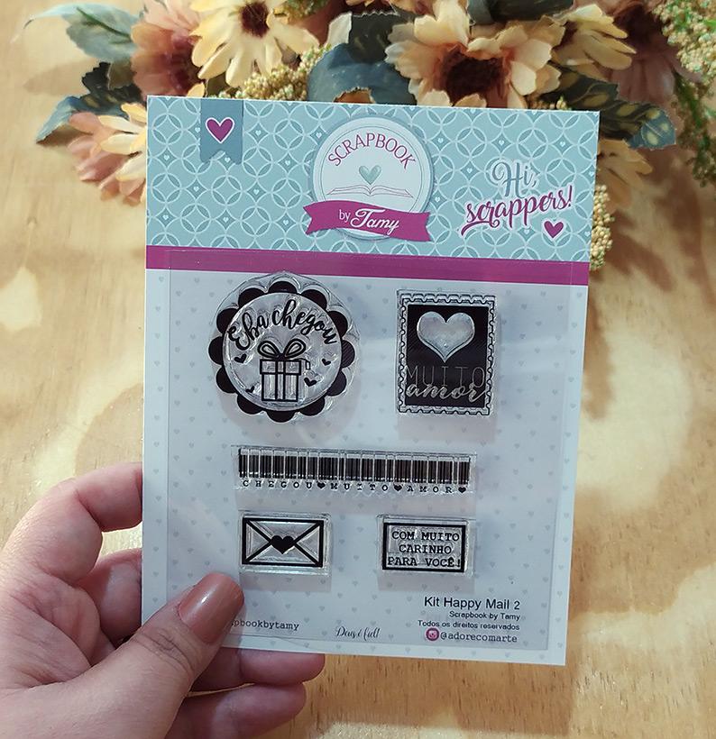"Cartela de Carimbos - ""Happy Mail 2"" - Scrapbook by Tamy  - Lilipop carimbos"