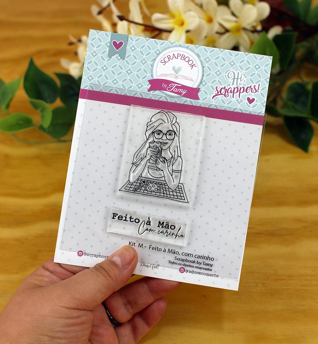 """Cartela de Carimbos M - """"Feito à mão com carinho"""" - Scrapbook by Tamy  - Lilipop carimbos"""