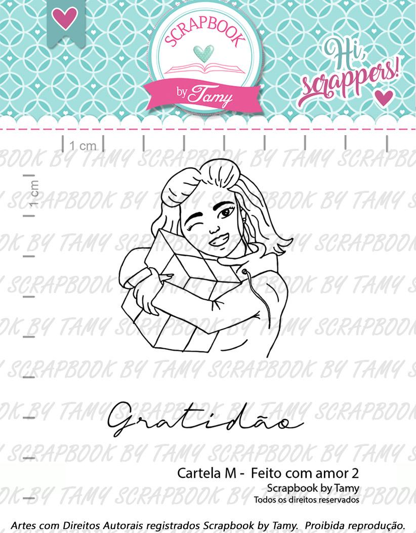 "Cartela de Carimbos M - ""Feito com Amor 2"" - Scrapbook by Tamy  - Lilipop carimbos"