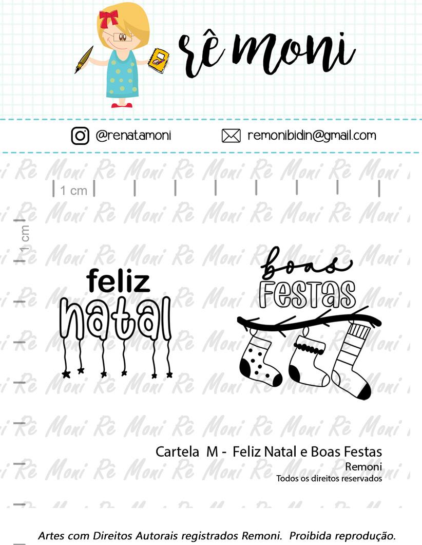 "Cartela de Carimbos M - ""Feliz Natal e Boas Festas"" - Remoni  - Lilipop carimbos"