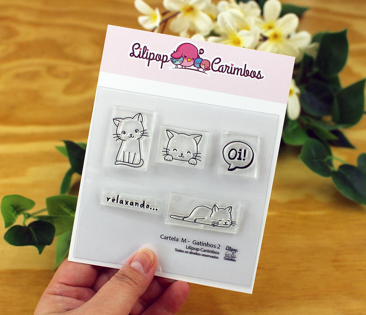 "Cartela de Carimbos M - ""Gatinhos 2"" - Lilipop Carimbos  - Lilipop carimbos"