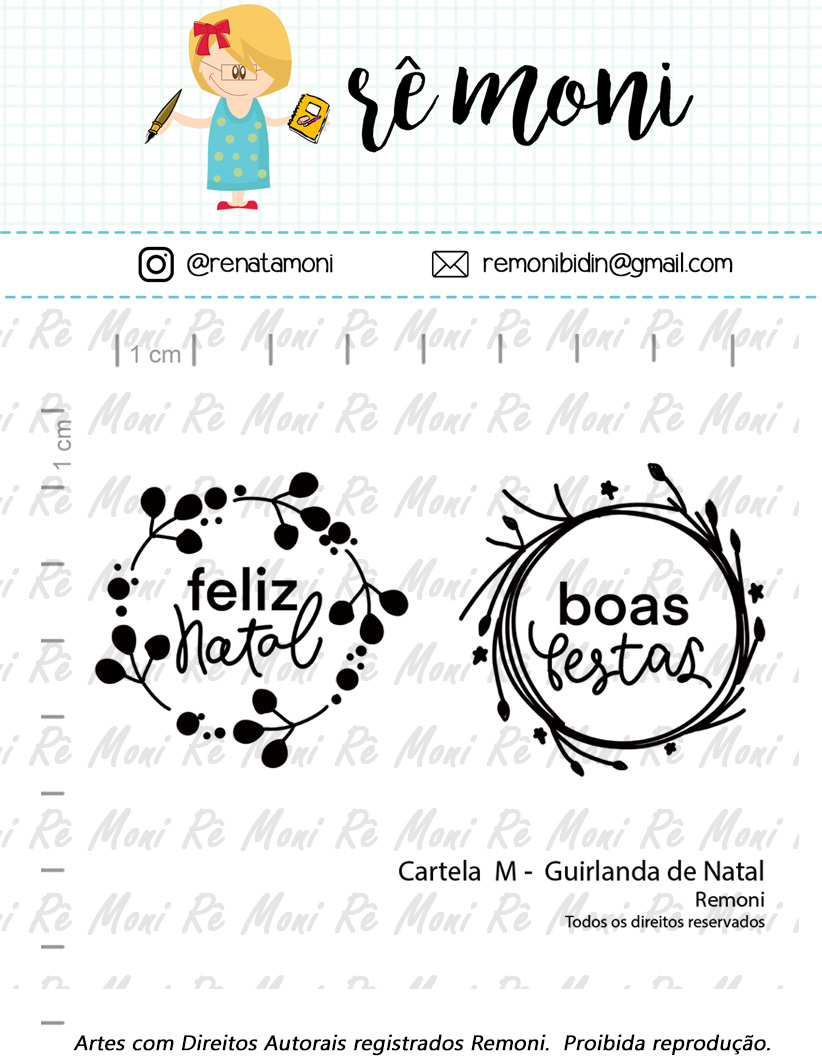 "Cartela de Carimbos M - ""Guirlanda de Natal"" - Remoni  - Lilipop carimbos"