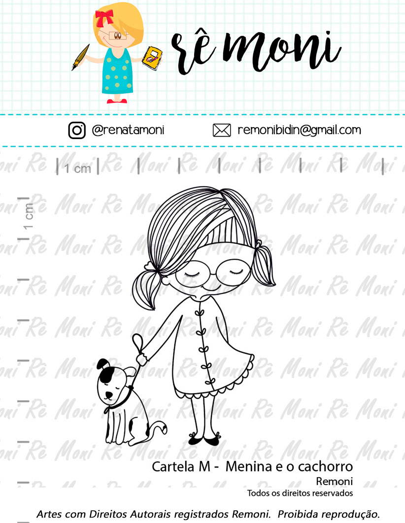 "Cartela de Carimbos M - ""Menina e o Cachorro"" - Remoni  - Lilipop carimbos"