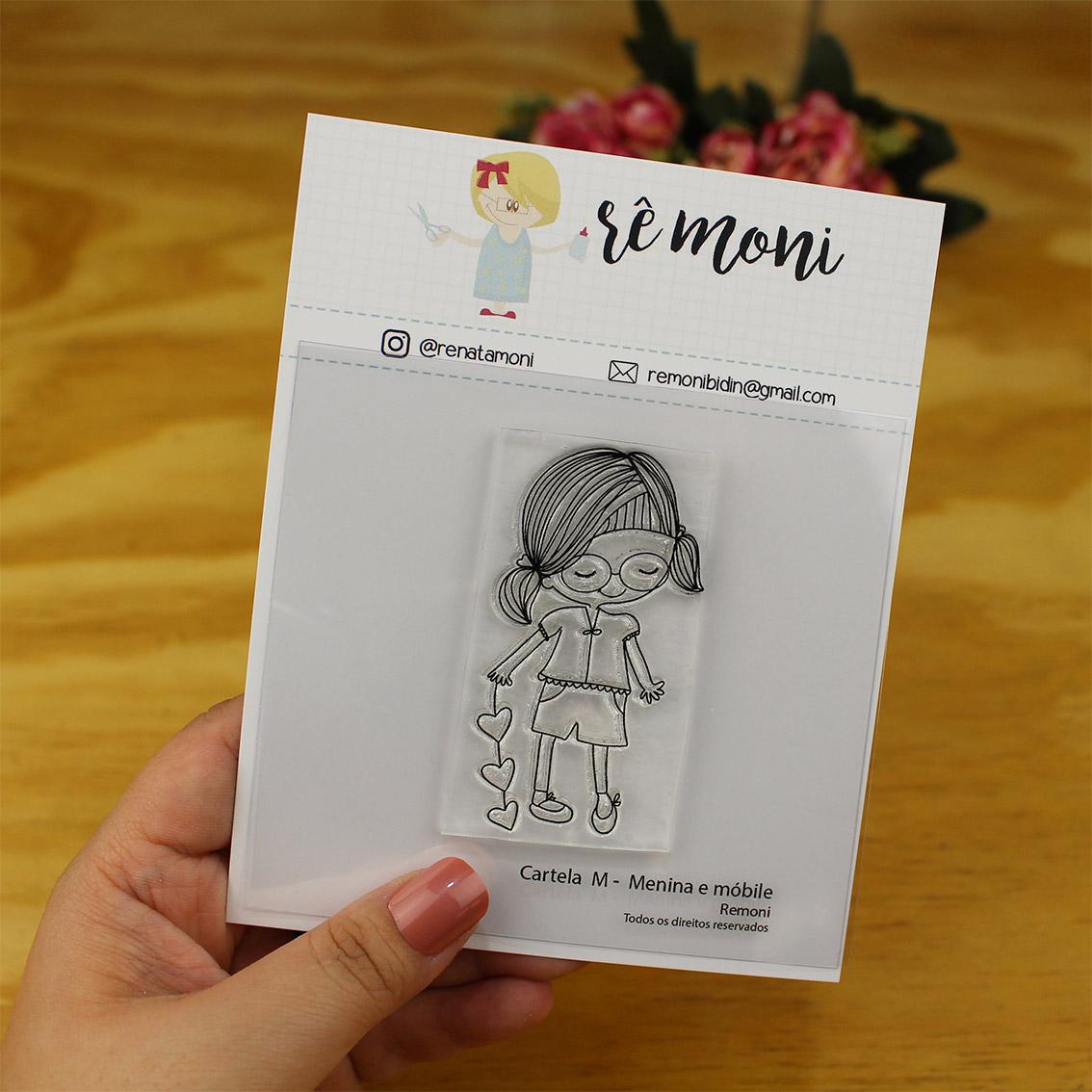 "Cartela de Carimbos M - ""Menina e o móbile"" - Remoni  - Lilipop carimbos"