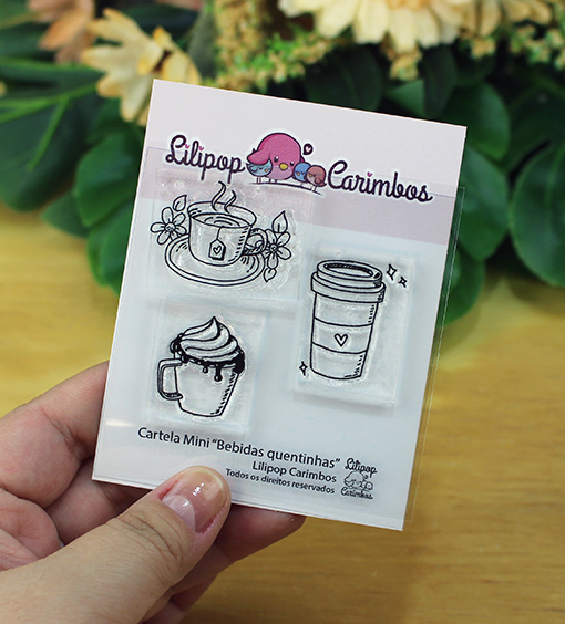 "Cartela de Carimbos Mini - ""Bebidas quentinhas"" - Lilipop Carimbos   - Lilipop carimbos"