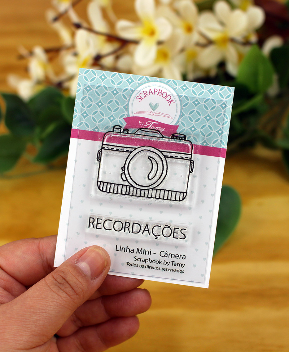 """Cartela de Carimbos Mini - """"Câmera"""" - Scrapbook by Tamy  - Lilipop carimbos"""