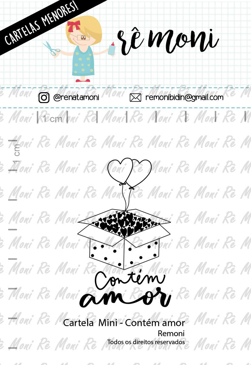 """Cartela de Carimbos Mini - """"Contém Amor"""" - Remoni  - Lilipop carimbos"""