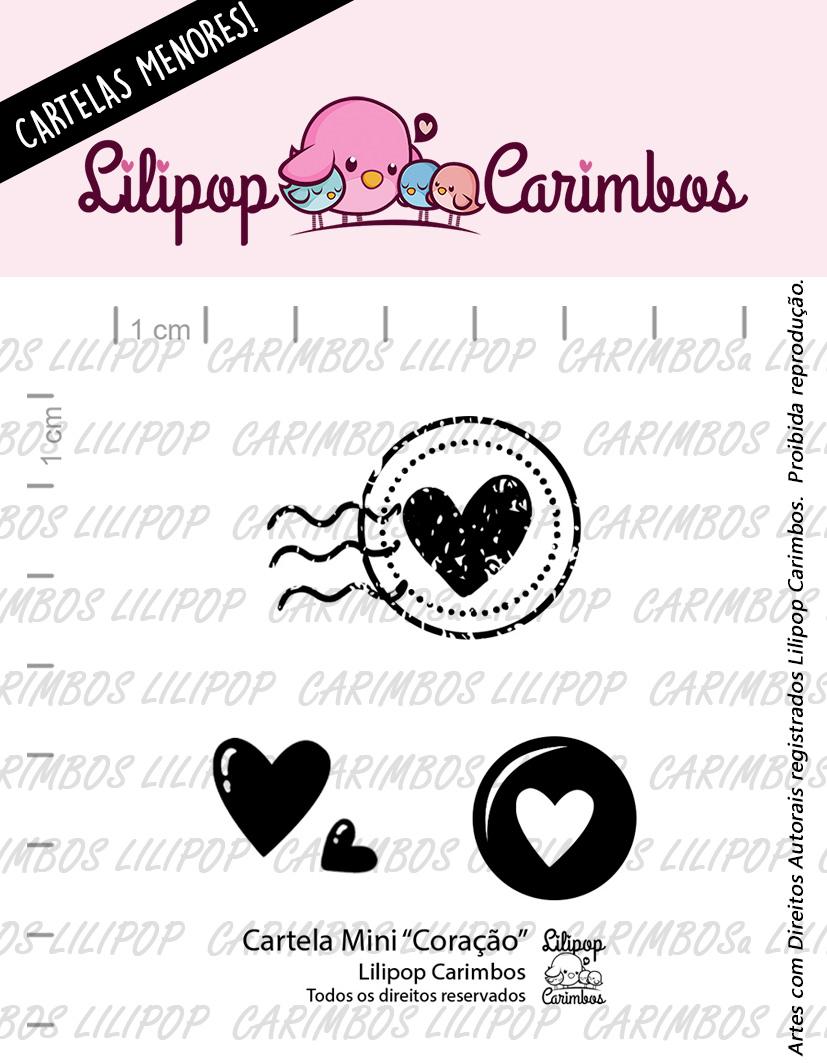 "Cartela de Carimbos Mini - ""Coração"" - Lilipop Carimbos  - Lilipop carimbos"
