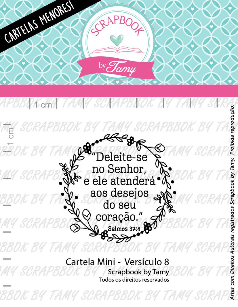 """Cartela de Carimbos Mini - """"Versículo 8"""" - Scrapbook by Tamy  - Lilipop carimbos"""