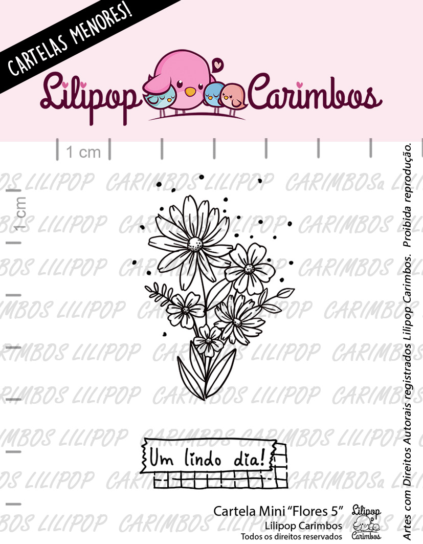 "Cartela de Carimbos Mini - ""Flores 5"" - Lilipop Carimbos   - Lilipop carimbos"