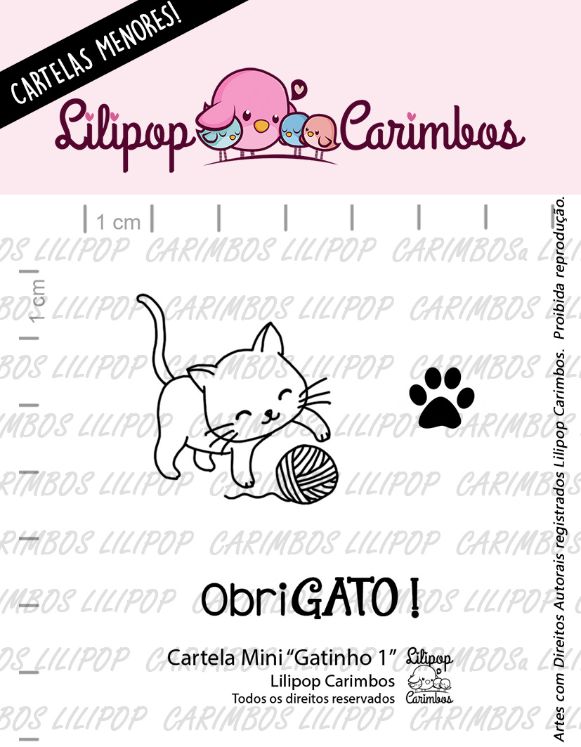 "Cartela de Carimbos Mini - ""Gatinho 1"" - Lilipop Carimbos  - Lilipop carimbos"